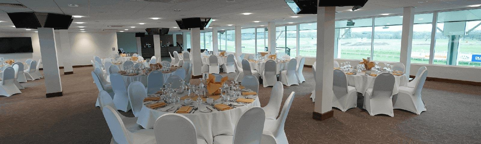 The View Restaurant at Chepstow Racecourse set up for a raceday.