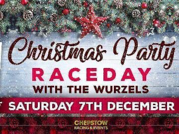 A promotional image for the Xmas Party race-day with entertainment from the Wurzels at Chepstow Racecourse on 7th Dec 2019.